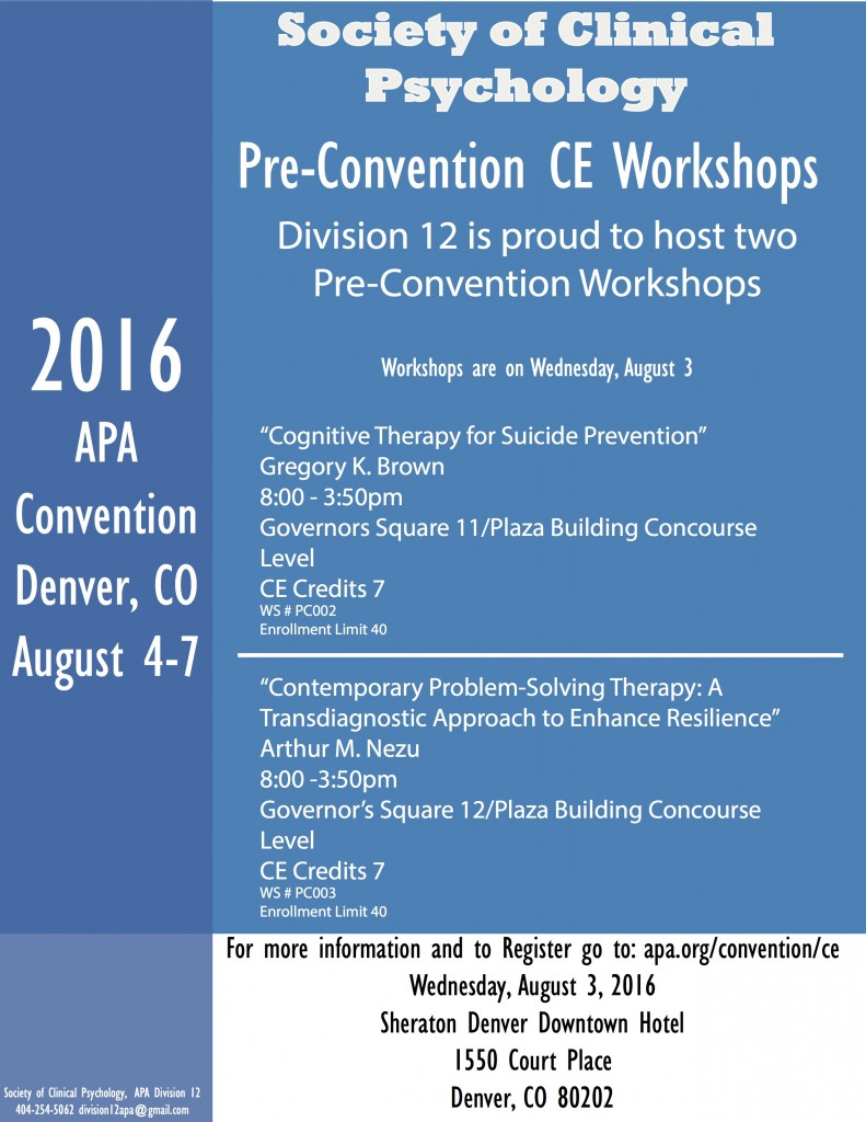 2016 Pre-Convention Workshops