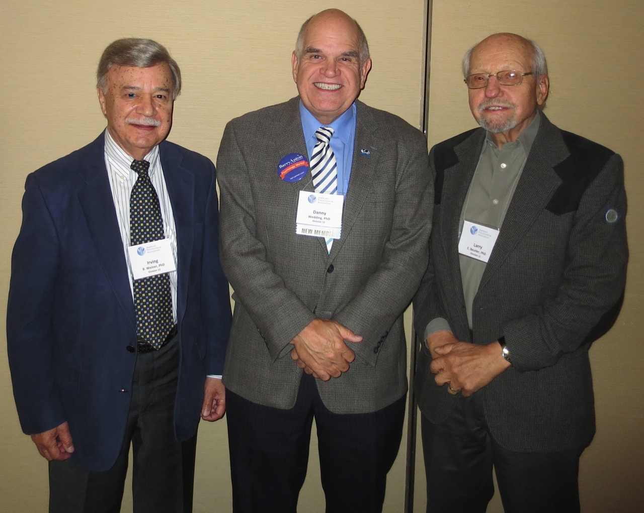 [left to right] Irving Weiner, Ph.D., Danny Wedding, Ph.D., Larry Beutler, Ph.d