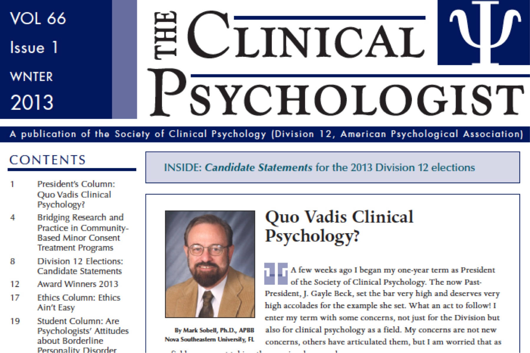 The Clinical Psychologist – Winter 2013 | Society of ...
