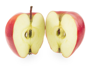 Red apple cut into two parts