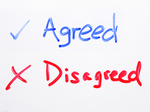 Agreed & Disagreed handing on whiteboard.